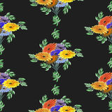 Seamless pattern watercolor of green leaves and bright flowers on the black background. Geometric. Abstract composition of leaves and flowers arranged in stock illustration