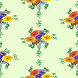 Seamless pattern watercolor of green leaves and bright flowers on a light green background. Geometric Stock Photography