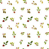 Seamless pattern with watercolor green leaves and red berries Stock Image