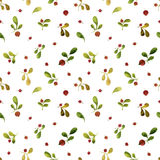Seamless pattern with watercolor green leaves and red berries Royalty Free Stock Photo