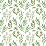 Seamless pattern with watercolor greenery leaves Royalty Free Stock Photos