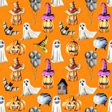 Seamless pattern with watercolor Halloween objects  pumpkins in old hats, spooks, skull, pot and other Stock Image