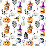 Seamless pattern with watercolor Halloween objects  pumpkins in old hats, spooks, skull, pot and other Royalty Free Stock Photography