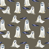 Seamless pattern with watercolor Halloween objects  spooks and black birds. Hand painted isolated on a dark background Royalty Free Stock Photo