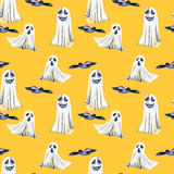 Seamless pattern with watercolor Halloween objects  spooks and black birds. Hand painted isolated on an orange background Royalty Free Stock Photo