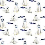 Seamless pattern with watercolor Halloween objects  spooks and black birds. Hand painted isolated on a white background Royalty Free Stock Photography