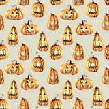Seamless pattern with watercolor Halloween pumpkins Royalty Free Stock Images