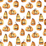 Seamless pattern with watercolor Halloween pumpkins Stock Photo