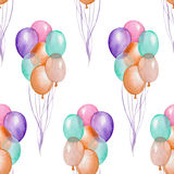 A seamless pattern with the watercolor hand drawn air balloons. Painted on a white background. Royalty Free Stock Image