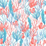 Seamless pattern of watercolor hand drawn corals and seaweed stock illustration