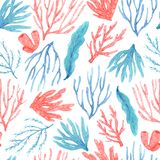 Seamless pattern of watercolor hand drawn corals and seaweed royalty free illustration
