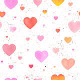 Seamless pattern with watercolor hand-drawn heart Royalty Free Stock Image