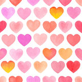 Seamless pattern with watercolor hand-drawn heart Stock Photos