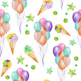 A seamless pattern with the watercolor hand drawn party or circus elements: air balloons, ice cream and stars. Painted on a white Stock Photos