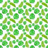 Seamless pattern with watercolor, hand drawn tropical leaves. Summer, abstract background. Seamless pattern with watercolor, hand drawn tropical leaves. Summer stock illustration