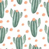 Seamless pattern with watercolor hand painted exotic cactus. tropic succulents and green plants. stock illustration
