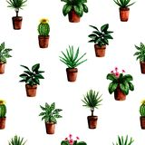 Seamless pattern with watercolor hand painted house green plants in pots For fabric textile, scrapbooking or wrapping paper design royalty free illustration