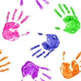 Seamless pattern with watercolor hand prints Royalty Free Stock Image