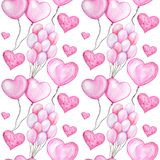Seamless pattern Watercolor heart balloon, love Greeting card concept. Balloons texture for scrapbooking. Wedding