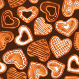 Seamless pattern of watercolor heart cookies stock illustration