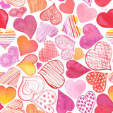Seamless pattern with watercolor heart. Royalty Free Stock Photos