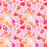 Seamless pattern with watercolor heart. Stock Photo
