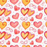 Seamless pattern with watercolor hearts. Illustration for Royalty Free Stock Photo