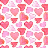 Seamless pattern with watercolor hearts. Romantic love hand drawn backgrounds texture. For greeting cards, wrapping paper, wedding