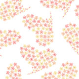 Seamless pattern of the watercolor hearts from tender pink spring flowers Royalty Free Stock Photography