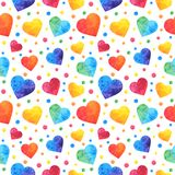 Seamless pattern with watercolor hearts, valentines day background, texture, wrapping. Vector eps10. Seamless pattern with watercolor hearts, valentines day stock illustration
