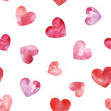 Seamless pattern with watercolor hearts. Stock Images