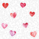 Seamless pattern with watercolor hearts. royalty free illustration