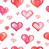 Seamless pattern with watercolor hearts on white Royalty Free Stock Images