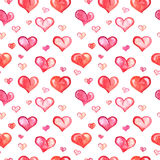 Seamless pattern with watercolor hearts on white Royalty Free Stock Photography