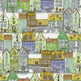 Seamless pattern of watercolor houses. Seamless pattern of watercolor hand drawn old medieval houses, european old town street vew. Design for wallpaper stock image
