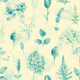 Seamless pattern. Watercolor hydrangea, currant. Royalty Free Stock Photo