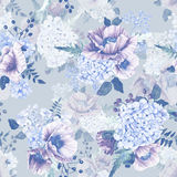 Seamless pattern. Watercolor hydrangea, poppies, currant. Royalty Free Stock Images