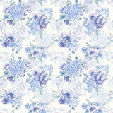 Seamless pattern. Watercolor hydrangea, poppies, currant. Royalty Free Stock Photos