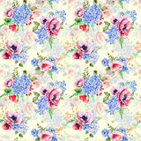 Seamless pattern. Watercolor hydrangea, poppies, currant. Royalty Free Stock Photography
