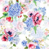 Seamless pattern. Watercolor hydrangea, poppies, currant. Stock Image
