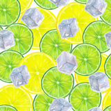 Seamless pattern with watercolor ice cubes, lemon and lime slice. Seamless pattern with hand drawn watercolor ice cubes, lemon and lime slices on a white Stock Photo