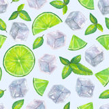 Seamless pattern with watercolor ice cubes, mint leaves and lime. Seamless pattern with hand drawn watercolor ice cubes, mint leaves and lime slices on a light Royalty Free Stock Photo