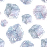 Seamless pattern with watercolor ice cubes on a white background. Seamless pattern with watercolor hand drawn ice cubes on a white background. Watercolor Stock Photography