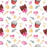 Seamless pattern watercolor illustration of cats Cartoon children`s elements stock illustration