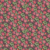 Seamless pattern with watercolor illustration, curly red orange ocher flowers Clematis on green blue claret background. Illustrati. On for printing on fabric stock illustration
