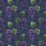 Seamless pattern with watercolor illustration of grapes Stock Photos