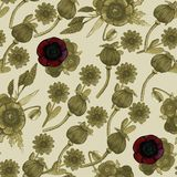 Seamless pattern with watercolor illustrations of poppy royalty free illustration