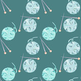 Seamless pattern with watercolor knitting elements: blue yarn and knitting needles. Hand drawn on a dark blue background stock illustration