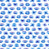 Seamless pattern with watercolor leaves and blue flowers. Royalty Free Stock Photo