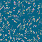 Seamless pattern with watercolor leaves and branches on a blue background Royalty Free Stock Photos